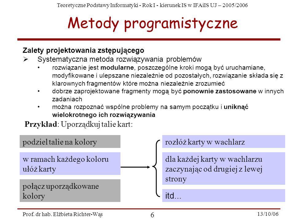 Teoretyczne Podstawy Informatyki - Rok I - kierunek IS w IFAiIS UJ – 2005/2006 Prof. dr hab. Elżbieta Richter-Wąs 6 13/10/06 Zalety projektowania zstę