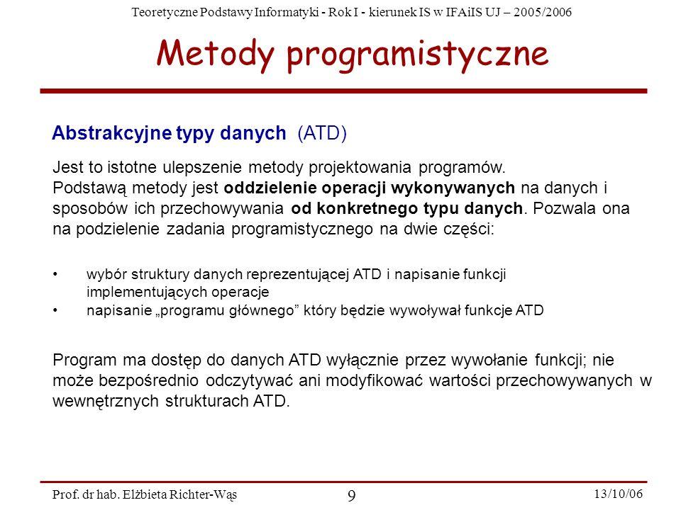Teoretyczne Podstawy Informatyki - Rok I - kierunek IS w IFAiIS UJ – 2005/2006 Prof. dr hab. Elżbieta Richter-Wąs 9 13/10/06 Abstrakcyjne typy danych