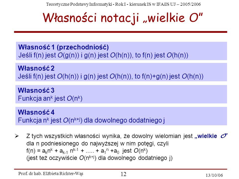 Teoretyczne Podstawy Informatyki - Rok I - kierunek IS w IFAiIS UJ – 2005/2006 Prof. dr hab. Elżbieta Richter-Wąs 12 13/10/06 Własności notacji wielki
