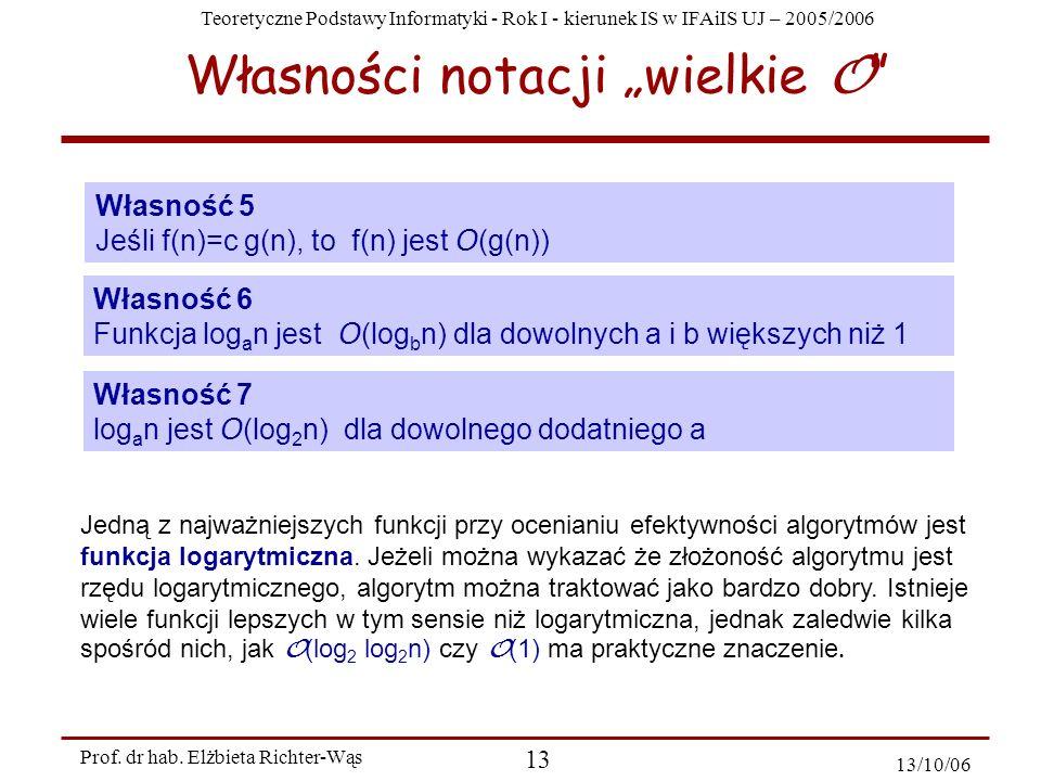 Teoretyczne Podstawy Informatyki - Rok I - kierunek IS w IFAiIS UJ – 2005/2006 Prof. dr hab. Elżbieta Richter-Wąs 13 13/10/06 Własności notacji wielki