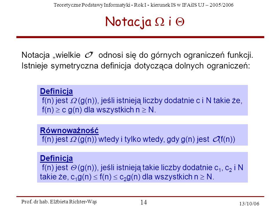 Teoretyczne Podstawy Informatyki - Rok I - kierunek IS w IFAiIS UJ – 2005/2006 Prof. dr hab. Elżbieta Richter-Wąs 14 13/10/06 Notacja i Notacja wielki