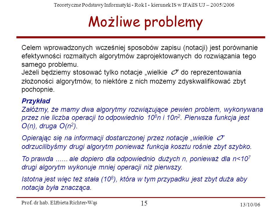 Teoretyczne Podstawy Informatyki - Rok I - kierunek IS w IFAiIS UJ – 2005/2006 Prof. dr hab. Elżbieta Richter-Wąs 15 13/10/06 Możliwe problemy Celem w