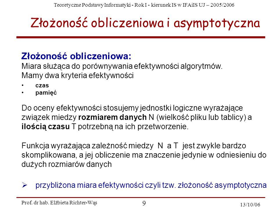 Teoretyczne Podstawy Informatyki - Rok I - kierunek IS w IFAiIS UJ – 2005/2006 Prof. dr hab. Elżbieta Richter-Wąs 9 13/10/06 Złożoność obliczeniowa: M
