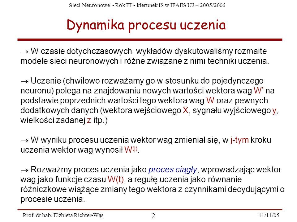 Sieci Neuronowe - Rok III - kierunek IS w IFAiIS UJ – 2005/2006 11/11/05 2 Prof. dr hab. Elżbieta Richter-Wąs Dynamika procesu uczenia W czasie dotych