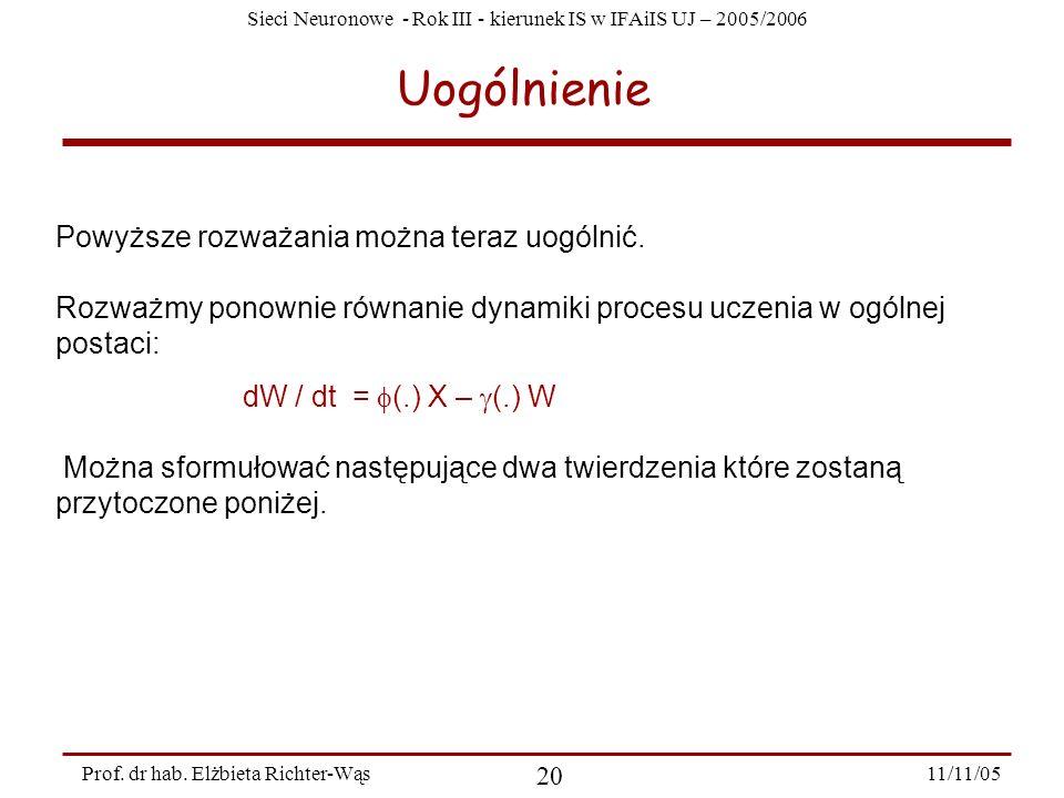 Sieci Neuronowe - Rok III - kierunek IS w IFAiIS UJ – 2005/2006 11/11/05 20 Prof. dr hab. Elżbieta Richter-Wąs Uogólnienie Powyższe rozważania można t