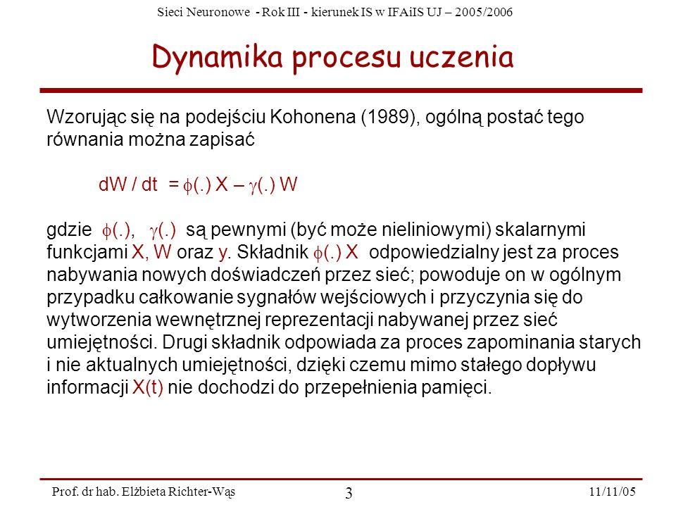 Sieci Neuronowe - Rok III - kierunek IS w IFAiIS UJ – 2005/2006 11/11/05 3 Prof. dr hab. Elżbieta Richter-Wąs Dynamika procesu uczenia Wzorując się na