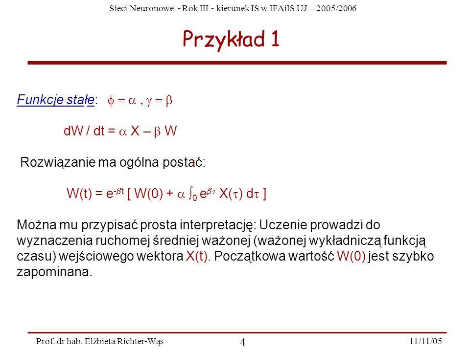 Sieci Neuronowe - Rok III - kierunek IS w IFAiIS UJ – 2005/2006 11/11/05 4 Prof. dr hab. Elżbieta Richter-Wąs Przykład 1 Funkcje stałe: dW / dt = X –