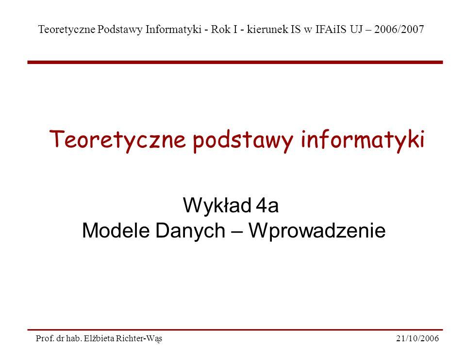 Teoretyczne Podstawy Informatyki - Rok I - kierunek IS w IFAiIS UJ – 2006/2007 21/10/2006Prof. dr hab. Elżbieta Richter-Wąs Wykład 4a Modele Danych –