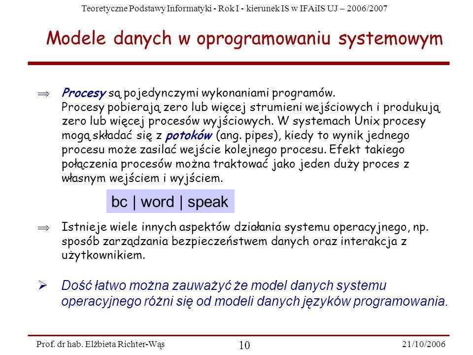 Teoretyczne Podstawy Informatyki - Rok I - kierunek IS w IFAiIS UJ – 2006/2007 21/10/2006 10 Prof. dr hab. Elżbieta Richter-Wąs Procesy są pojedynczym
