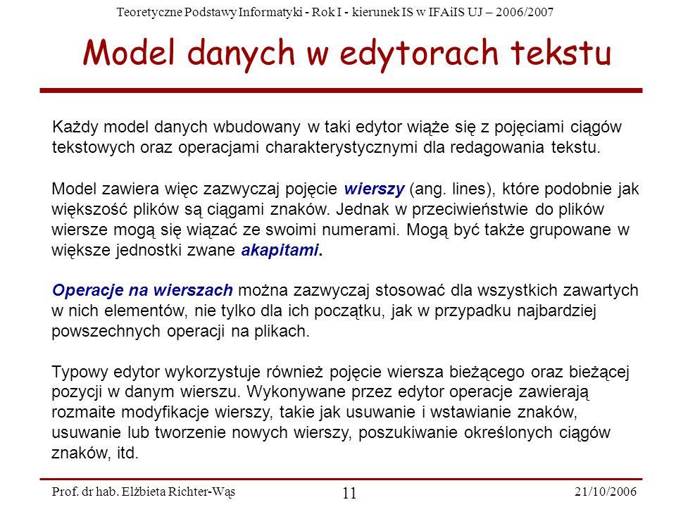 Teoretyczne Podstawy Informatyki - Rok I - kierunek IS w IFAiIS UJ – 2006/2007 21/10/2006 11 Prof. dr hab. Elżbieta Richter-Wąs Model danych w edytora