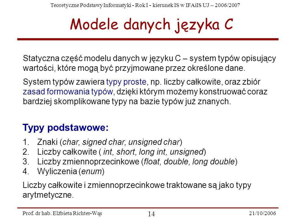 Teoretyczne Podstawy Informatyki - Rok I - kierunek IS w IFAiIS UJ – 2006/2007 21/10/2006 14 Prof. dr hab. Elżbieta Richter-Wąs Modele danych języka C