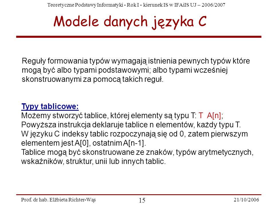 Teoretyczne Podstawy Informatyki - Rok I - kierunek IS w IFAiIS UJ – 2006/2007 21/10/2006 15 Prof. dr hab. Elżbieta Richter-Wąs Typy tablicowe: Możemy