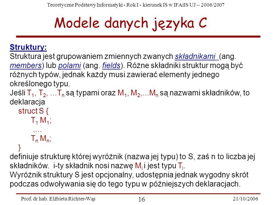 Teoretyczne Podstawy Informatyki - Rok I - kierunek IS w IFAiIS UJ – 2006/2007 21/10/2006 16 Prof. dr hab. Elżbieta Richter-Wąs Struktury: Struktura j