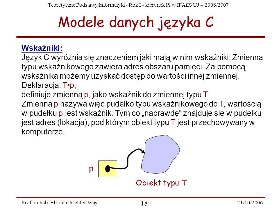 Teoretyczne Podstawy Informatyki - Rok I - kierunek IS w IFAiIS UJ – 2006/2007 21/10/2006 18 Prof. dr hab. Elżbieta Richter-Wąs Wskaźniki: Język C wyr