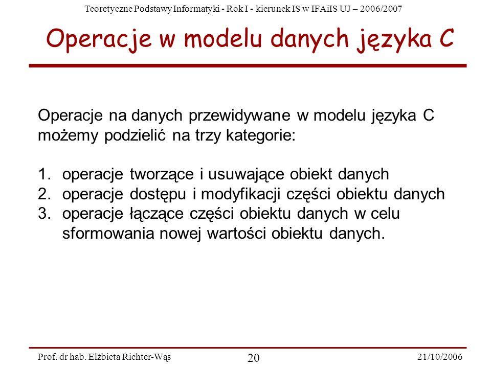 Teoretyczne Podstawy Informatyki - Rok I - kierunek IS w IFAiIS UJ – 2006/2007 21/10/2006 20 Prof. dr hab. Elżbieta Richter-Wąs Operacje w modelu dany