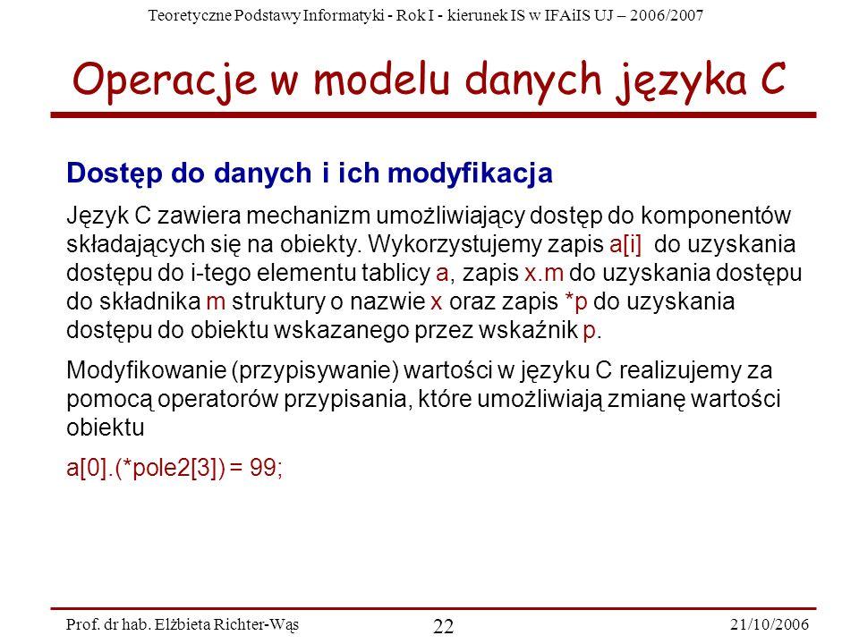 Teoretyczne Podstawy Informatyki - Rok I - kierunek IS w IFAiIS UJ – 2006/2007 21/10/2006 22 Prof. dr hab. Elżbieta Richter-Wąs Dostęp do danych i ich