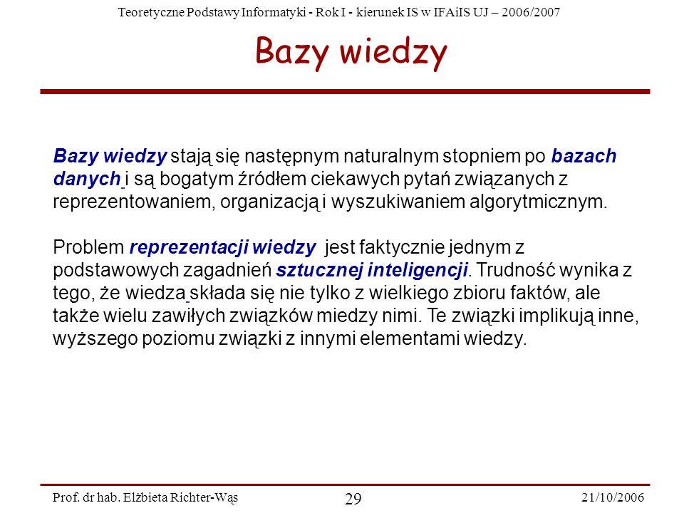 Teoretyczne Podstawy Informatyki - Rok I - kierunek IS w IFAiIS UJ – 2006/2007 21/10/2006 29 Prof. dr hab. Elżbieta Richter-Wąs Bazy wiedzy Bazy wiedz