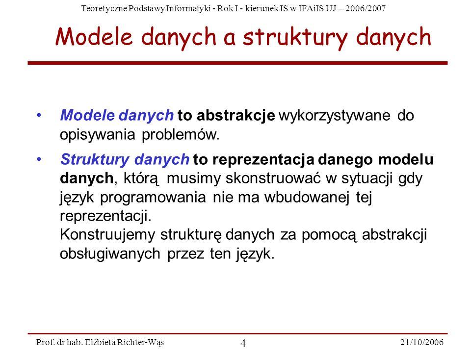 Teoretyczne Podstawy Informatyki - Rok I - kierunek IS w IFAiIS UJ – 2006/2007 21/10/2006 4 Prof. dr hab. Elżbieta Richter-Wąs Modele danych a struktu