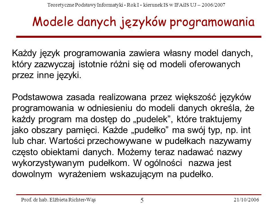 Teoretyczne Podstawy Informatyki - Rok I - kierunek IS w IFAiIS UJ – 2006/2007 21/10/2006 5 Prof. dr hab. Elżbieta Richter-Wąs Modele danych języków p