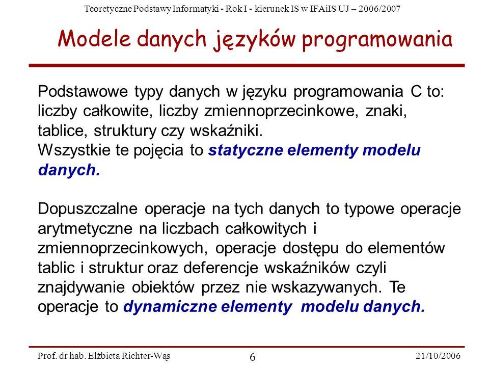 Teoretyczne Podstawy Informatyki - Rok I - kierunek IS w IFAiIS UJ – 2006/2007 21/10/2006 6 Prof. dr hab. Elżbieta Richter-Wąs Modele danych języków p