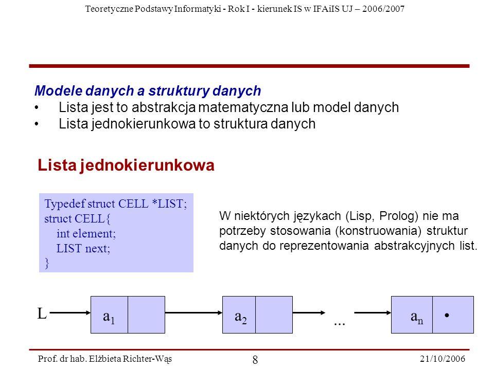 Teoretyczne Podstawy Informatyki - Rok I - kierunek IS w IFAiIS UJ – 2006/2007 21/10/2006 8 Prof. dr hab. Elżbieta Richter-Wąs Modele danych a struktu