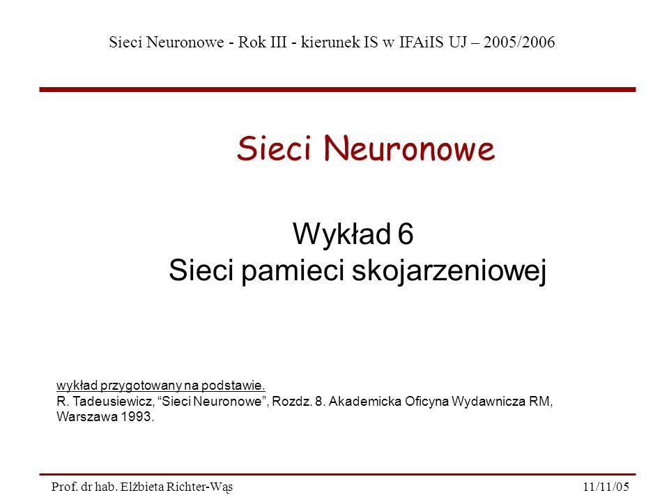 Sieci Neuronowe - Rok III - kierunek IS w IFAiIS UJ – 2005/2006 11/11/05 22 Prof.