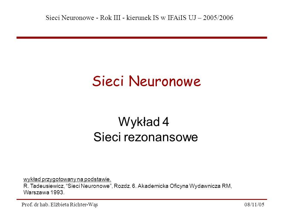 Sieci Neuronowe - Rok III - kierunek IS w IFAiIS UJ – 2005/2006 08/11/05Prof. dr hab. Elżbieta Richter-Wąs Wykład 4 Sieci rezonansowe Sieci Neuronowe