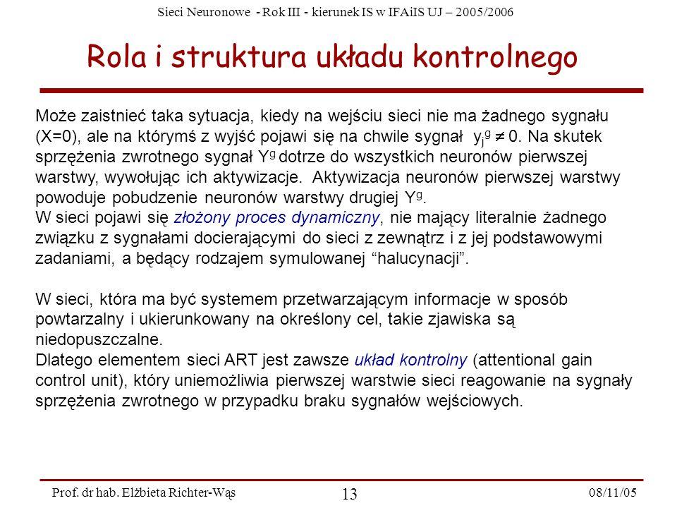 Sieci Neuronowe - Rok III - kierunek IS w IFAiIS UJ – 2005/2006 08/11/05 13 Prof. dr hab. Elżbieta Richter-Wąs Rola i struktura układu kontrolnego Moż