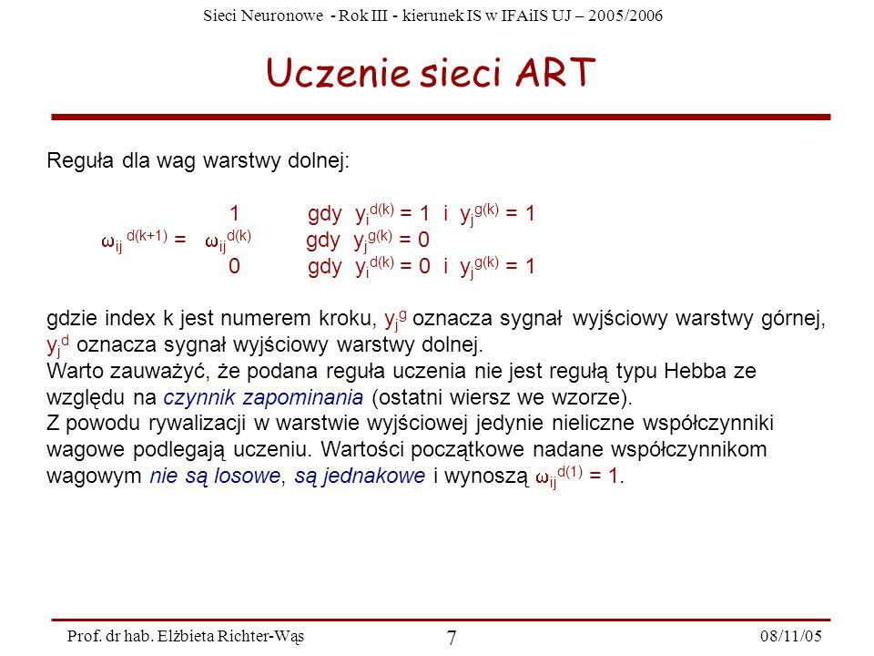 Sieci Neuronowe - Rok III - kierunek IS w IFAiIS UJ – 2005/2006 08/11/05 8 Prof.