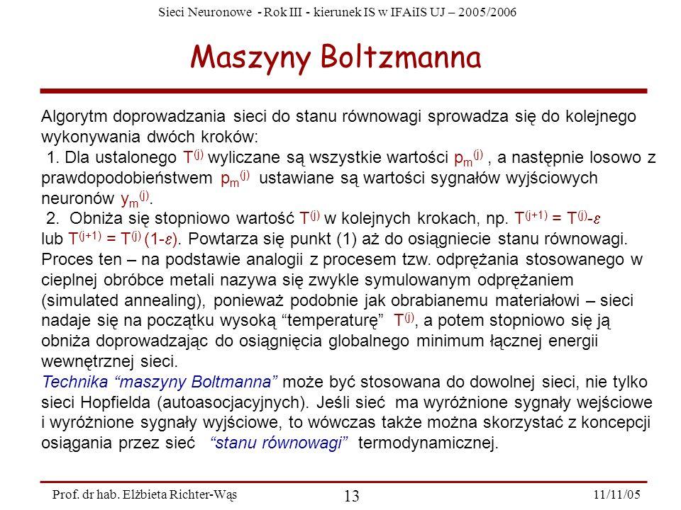 Sieci Neuronowe - Rok III - kierunek IS w IFAiIS UJ – 2005/2006 11/11/05 13 Prof. dr hab. Elżbieta Richter-Wąs Maszyny Boltzmanna Algorytm doprowadzan