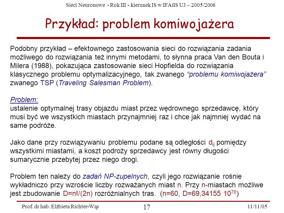 Sieci Neuronowe - Rok III - kierunek IS w IFAiIS UJ – 2005/2006 11/11/05 17 Prof. dr hab. Elżbieta Richter-Wąs Przykład: problem komiwojażera Podobny