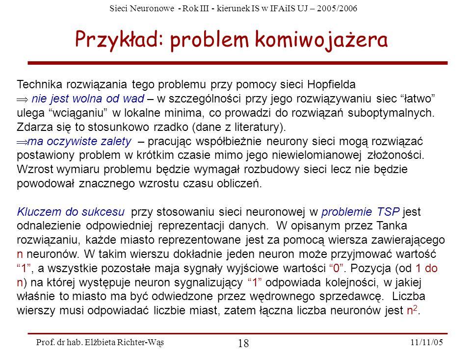 Sieci Neuronowe - Rok III - kierunek IS w IFAiIS UJ – 2005/2006 11/11/05 18 Prof. dr hab. Elżbieta Richter-Wąs Przykład: problem komiwojażera Technika