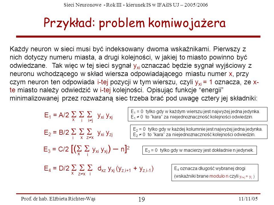 Sieci Neuronowe - Rok III - kierunek IS w IFAiIS UJ – 2005/2006 11/11/05 19 Prof. dr hab. Elżbieta Richter-Wąs Przykład: problem komiwojażera Każdy ne