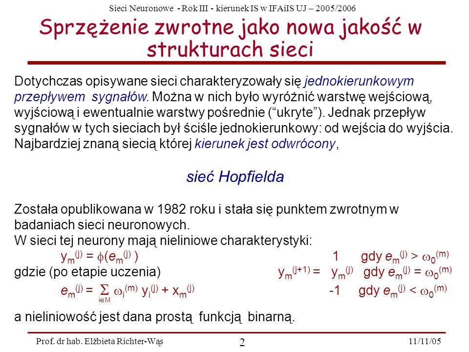 Sieci Neuronowe - Rok III - kierunek IS w IFAiIS UJ – 2005/2006 11/11/05 2 Prof. dr hab. Elżbieta Richter-Wąs Sprzężenie zwrotne jako nowa jakość w st