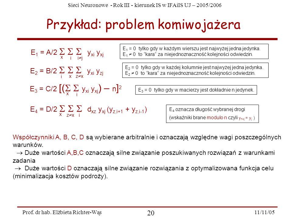 Sieci Neuronowe - Rok III - kierunek IS w IFAiIS UJ – 2005/2006 11/11/05 20 Prof. dr hab. Elżbieta Richter-Wąs Przykład: problem komiwojażera x i i j