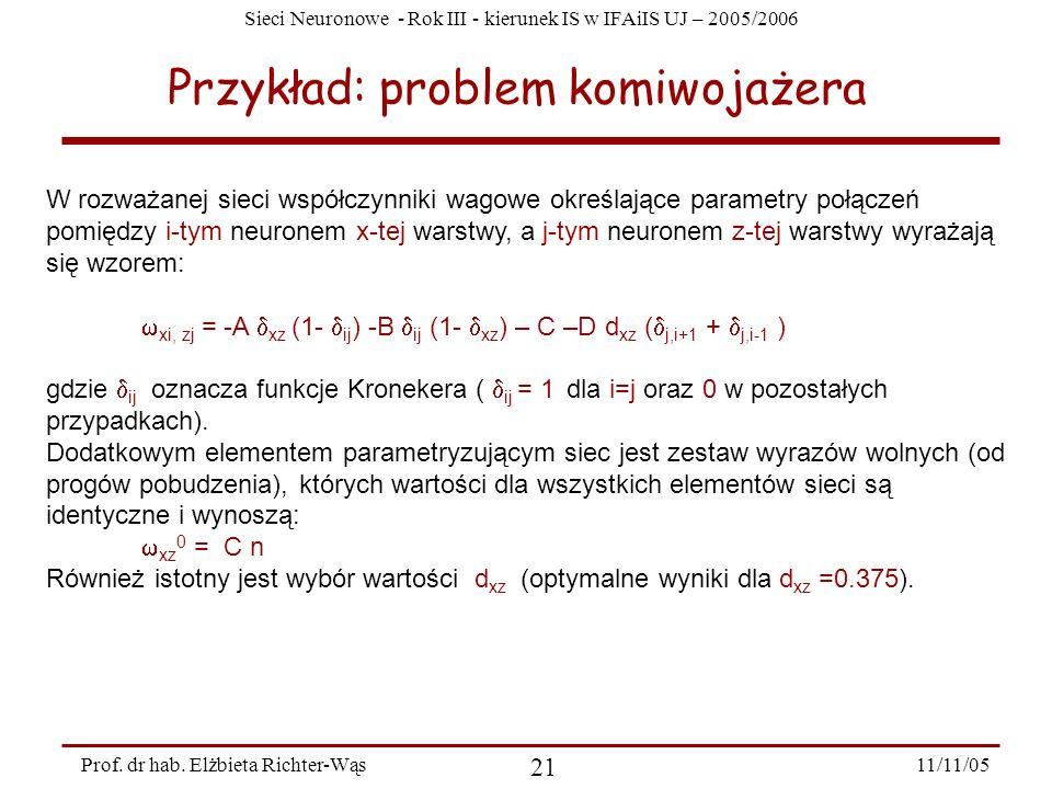 Sieci Neuronowe - Rok III - kierunek IS w IFAiIS UJ – 2005/2006 11/11/05 21 Prof. dr hab. Elżbieta Richter-Wąs Przykład: problem komiwojażera W rozważ