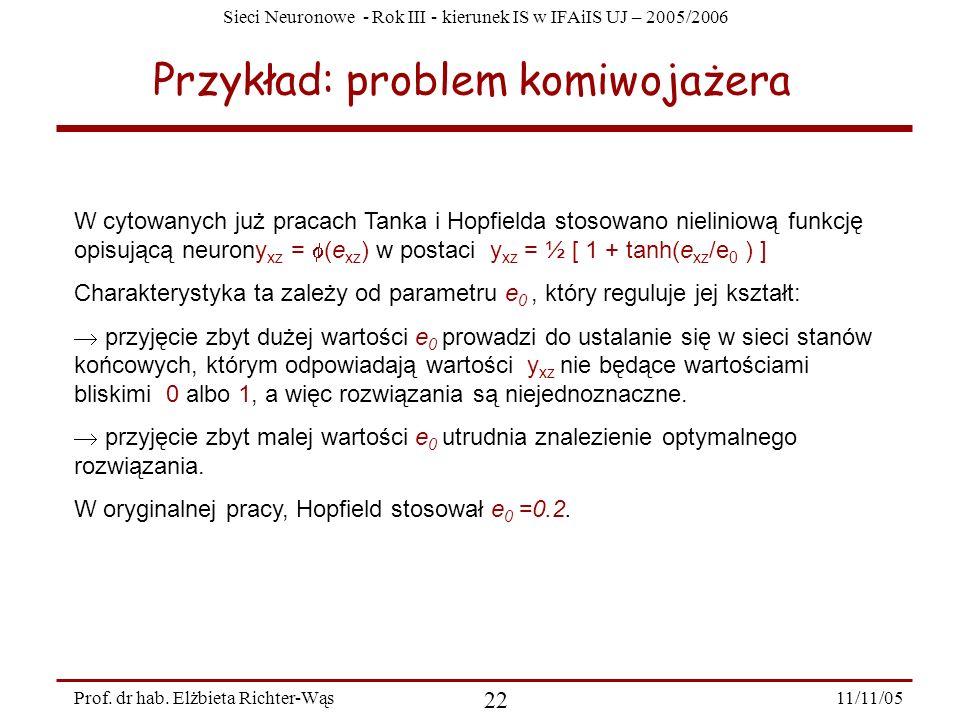 Sieci Neuronowe - Rok III - kierunek IS w IFAiIS UJ – 2005/2006 11/11/05 22 Prof. dr hab. Elżbieta Richter-Wąs Przykład: problem komiwojażera W cytowa