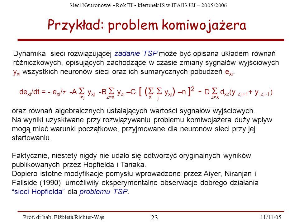 Sieci Neuronowe - Rok III - kierunek IS w IFAiIS UJ – 2005/2006 11/11/05 23 Prof. dr hab. Elżbieta Richter-Wąs Przykład: problem komiwojażera Dynamika