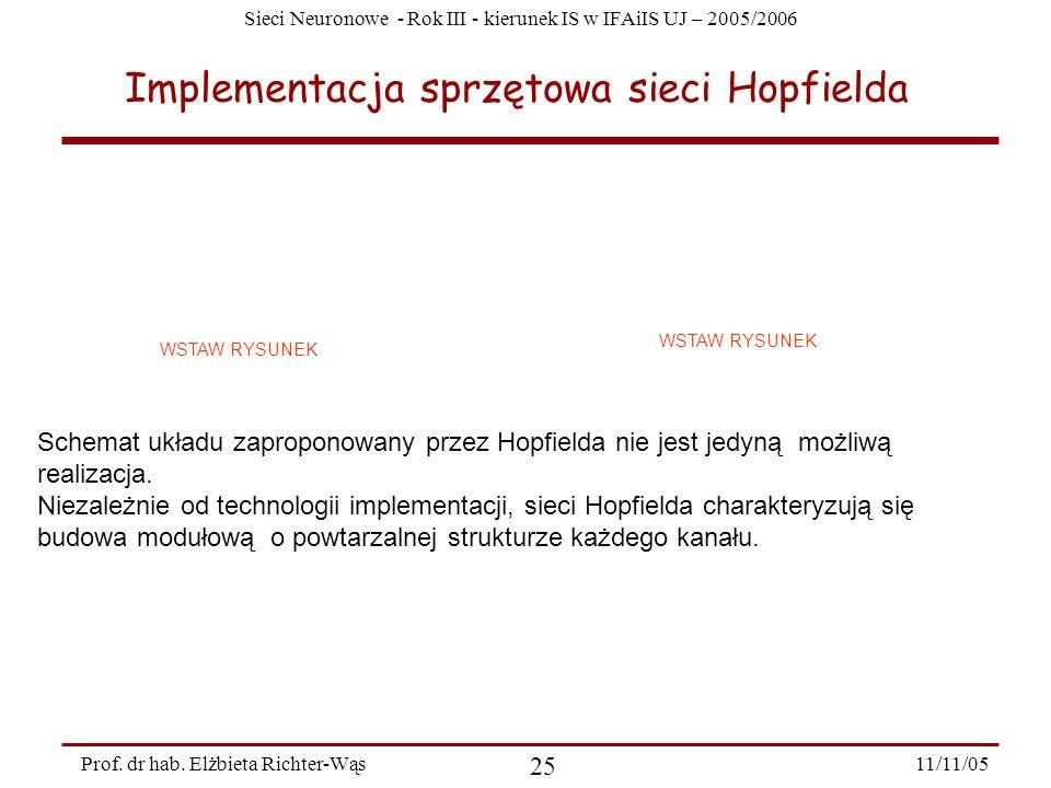 Sieci Neuronowe - Rok III - kierunek IS w IFAiIS UJ – 2005/2006 11/11/05 25 Prof. dr hab. Elżbieta Richter-Wąs Implementacja sprzętowa sieci Hopfielda