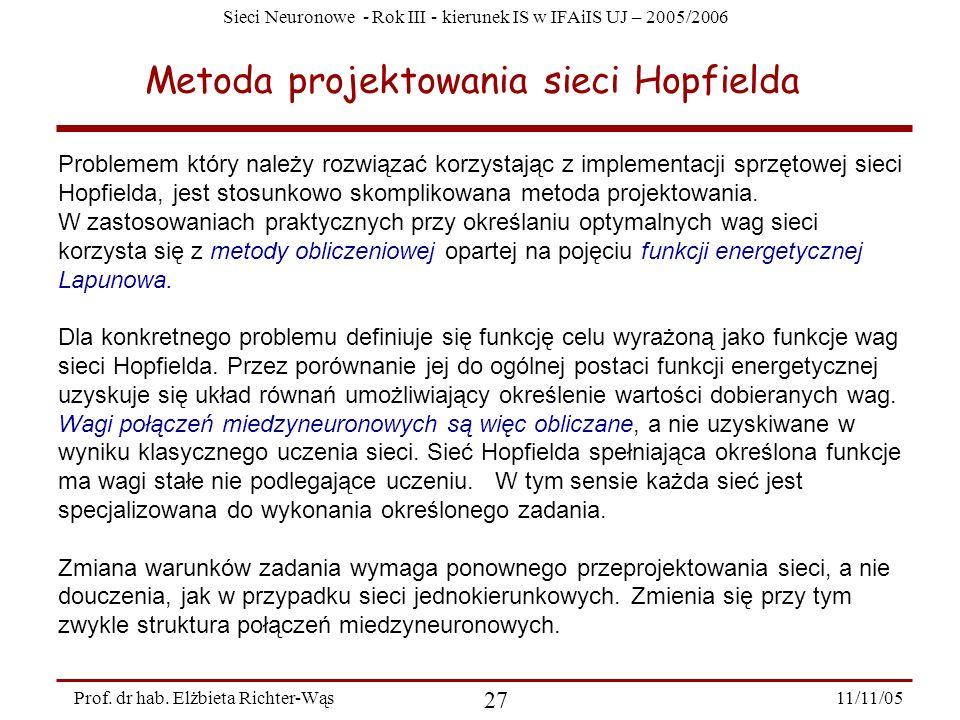 Sieci Neuronowe - Rok III - kierunek IS w IFAiIS UJ – 2005/2006 11/11/05 27 Prof. dr hab. Elżbieta Richter-Wąs Metoda projektowania sieci Hopfielda Pr