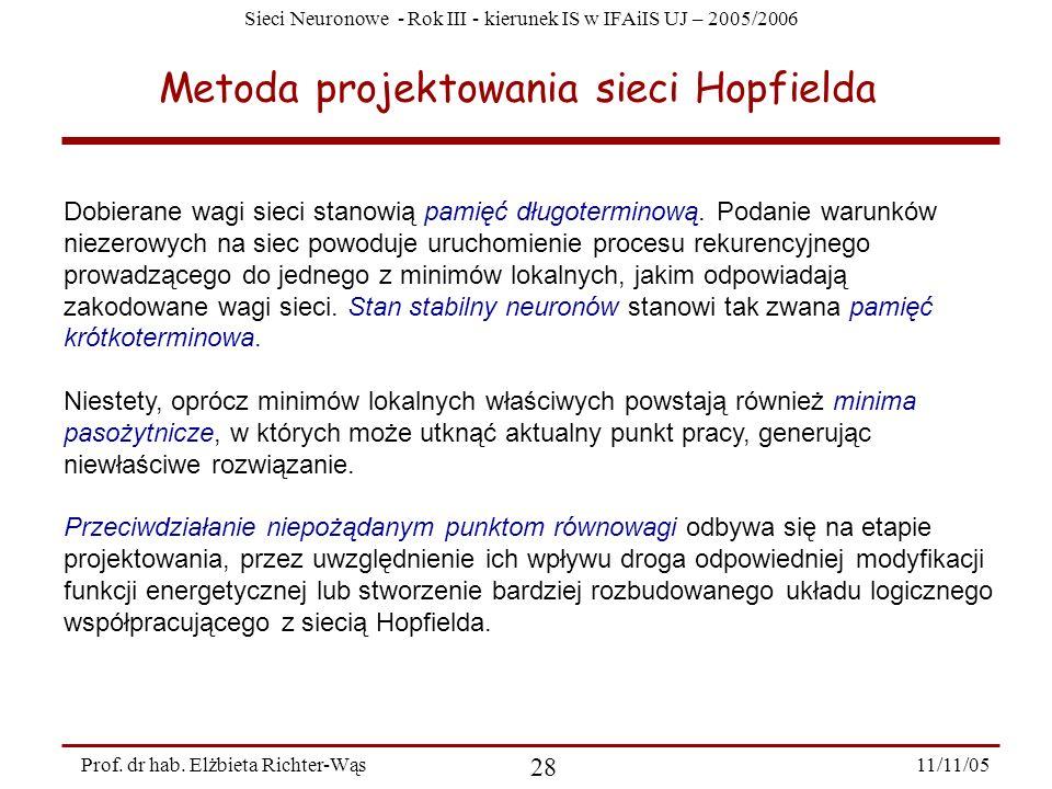 Sieci Neuronowe - Rok III - kierunek IS w IFAiIS UJ – 2005/2006 11/11/05 28 Prof. dr hab. Elżbieta Richter-Wąs Metoda projektowania sieci Hopfielda Do