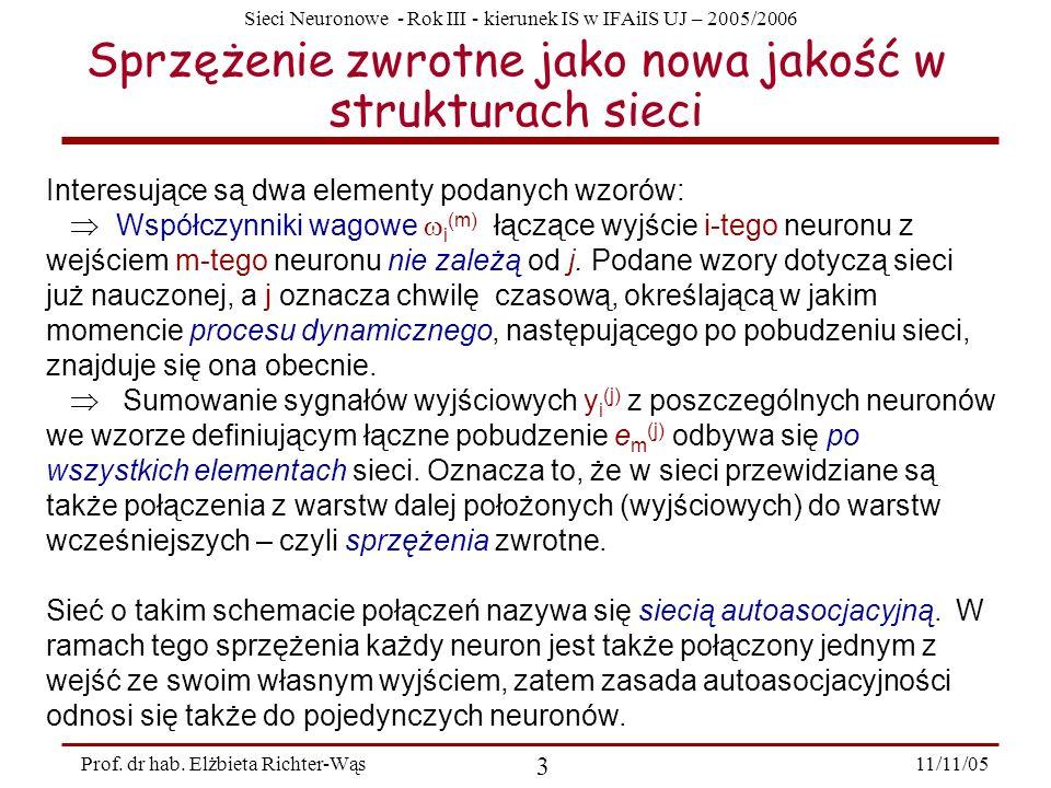 Sieci Neuronowe - Rok III - kierunek IS w IFAiIS UJ – 2005/2006 11/11/05 3 Prof. dr hab. Elżbieta Richter-Wąs Sprzężenie zwrotne jako nowa jakość w st