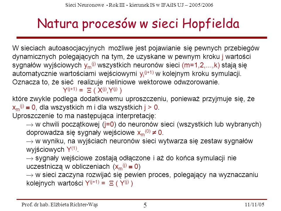 Sieci Neuronowe - Rok III - kierunek IS w IFAiIS UJ – 2005/2006 11/11/05 5 Prof. dr hab. Elżbieta Richter-Wąs Natura procesów w sieci Hopfielda W siec
