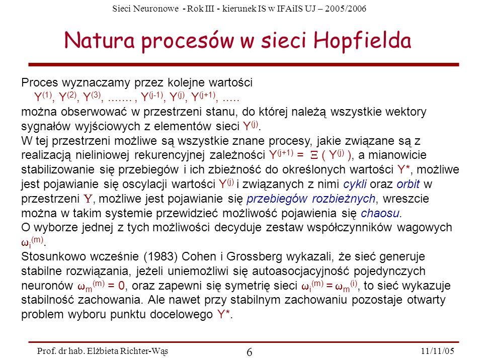 Sieci Neuronowe - Rok III - kierunek IS w IFAiIS UJ – 2005/2006 11/11/05 6 Prof. dr hab. Elżbieta Richter-Wąs Natura procesów w sieci Hopfielda Proces