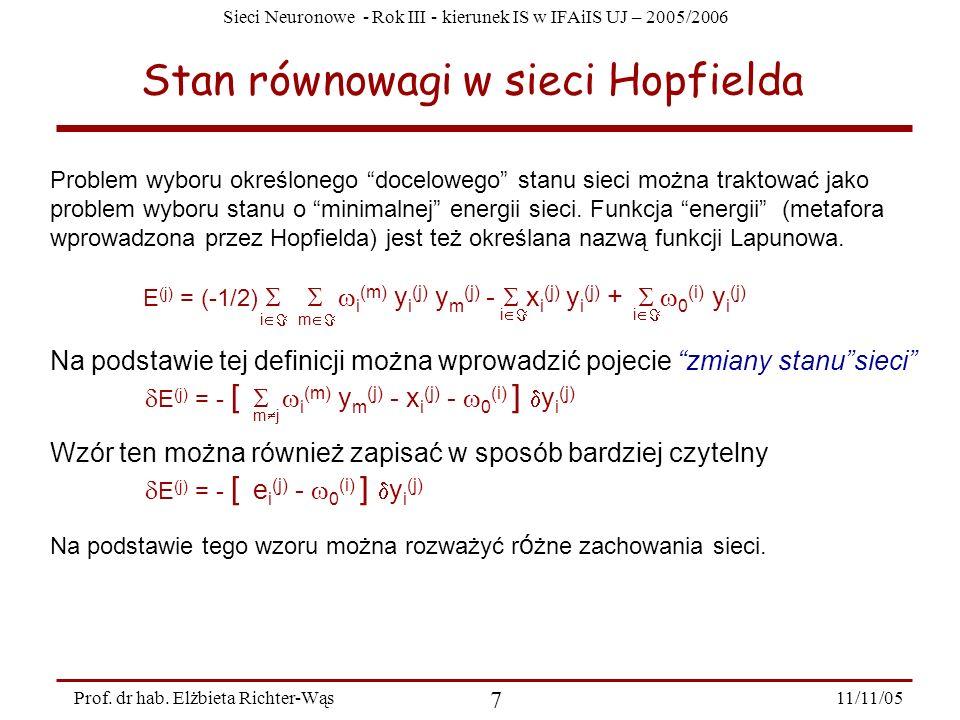 Sieci Neuronowe - Rok III - kierunek IS w IFAiIS UJ – 2005/2006 11/11/05 7 Prof. dr hab. Elżbieta Richter-Wąs Stan równowagi w sieci Hopfielda Problem