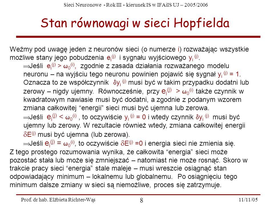 Sieci Neuronowe - Rok III - kierunek IS w IFAiIS UJ – 2005/2006 11/11/05 8 Prof. dr hab. Elżbieta Richter-Wąs Stan równowagi w sieci Hopfielda Weźmy p
