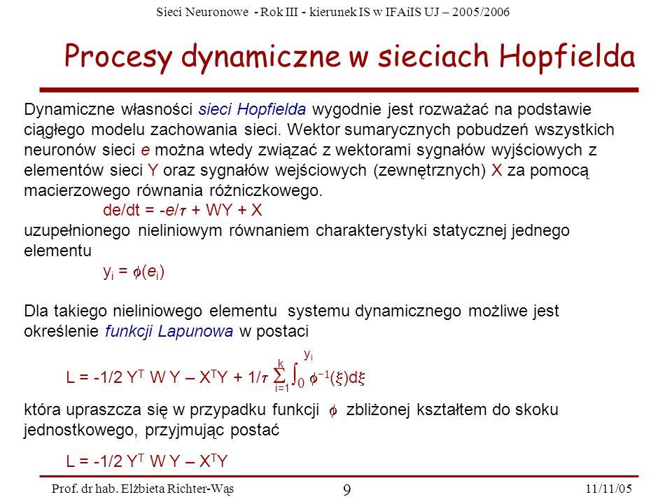 Sieci Neuronowe - Rok III - kierunek IS w IFAiIS UJ – 2005/2006 11/11/05 9 Prof. dr hab. Elżbieta Richter-Wąs Procesy dynamiczne w sieciach Hopfielda