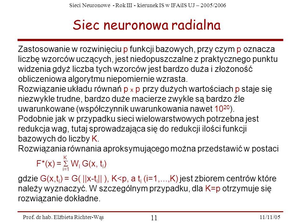 Sieci Neuronowe - Rok III - kierunek IS w IFAiIS UJ – 2005/2006 11/11/05 11 Prof. dr hab. Elżbieta Richter-Wąs Siec neuronowa radialna Zastosowanie w