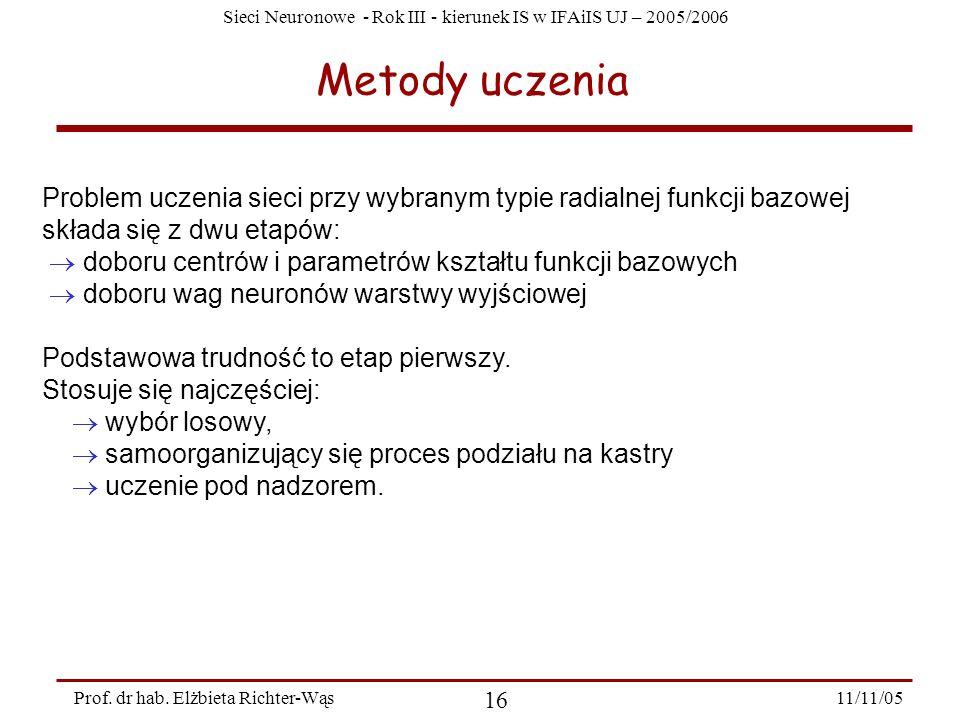 Sieci Neuronowe - Rok III - kierunek IS w IFAiIS UJ – 2005/2006 11/11/05 17 Prof.