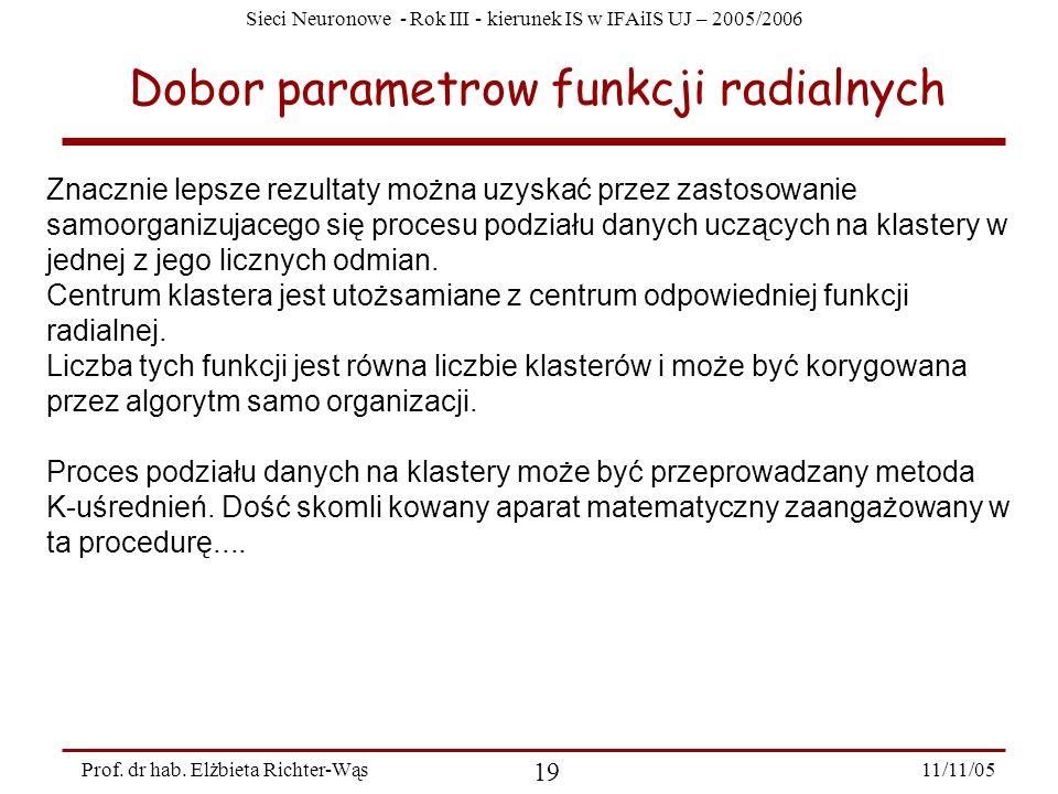 Sieci Neuronowe - Rok III - kierunek IS w IFAiIS UJ – 2005/2006 11/11/05 19 Prof. dr hab. Elżbieta Richter-Wąs Dobor parametrow funkcji radialnych Zna